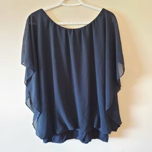 Blue Top with Mesh Detail Cap Sleeve